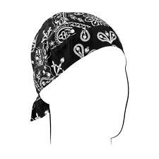 Black Paisley Durag Sweatband Headwrap Biker Skull Cap Zan Headgear Road Hog