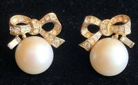 Vintage Gold Tone Faux Pearl Rhinestone Ribbon Earrings
