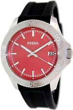 New Fossil Men AM4445 Round Red Dial Silicone Black Band Sporty Watch