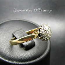9ct Gold Diamond Cluster Ring Size M 2.2g