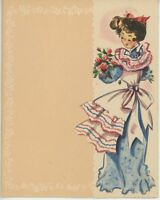 VINTAGE VICTORIAN PRETTY GIRL PINK BLUE DRESS RUFFLES APRON ROSES CARD ART PRINT