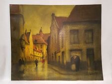 Antique Signed Oil Painting on Textured Artist Board European Street Scene