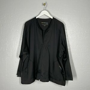 Wonderwink Wondertech Plus Size 3X Black Warm Up Style Jacket Full Zip Pockets