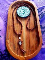 Mandala Mala Beads Raindrop Buddhist Bracelet Necklace Sandalwood Wooden Yoga