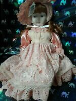 FRAGILE porcelain hand made doll PINK AND WHITE New Unique