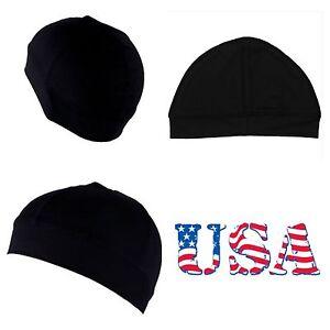 New Men's Spandex All Black Dome Cap Helmet Liner Sports Beanie Skull Hat Biker