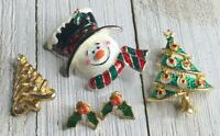 Vintage Assorted Christmas Holiday Snowman Tree Brooch Pins & Holly Earrings Lot