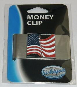 USA United States of America Flag Stainless Steel Money Clip (Military)