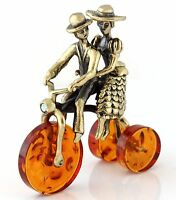 Couple in Love on Bicycle Brass Figurine Sculpture Baltic Amber Man Woman Bike