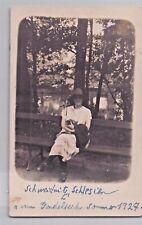 SELTEN Privat-Foto-AK 1927@Schweidnitz / Schlesien Świdnica@Frau am Gondelteich
