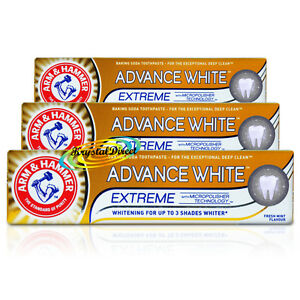 3x Arm Hammer Advance White Extreme MicroPolisher Tech Whitening Toothpaste 75ml