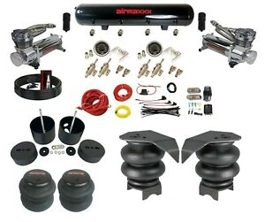 """Complete 3/8"""" Manual Toggle Air Ride Suspension Kit Air Bag Fits 88-98 Chevy C15"""