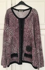 Angelo Marani Wool & Silk Pink & Black Leopard Print Cardigan with Lace UK 10