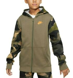 Nike Sportswear Big Boys Medium Olive Camo Sleeves Fleece Full Zip Hoodie