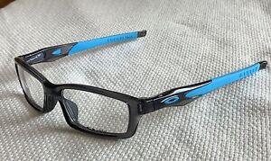 Oakley Crosslink Eyeglasses OX8027 Grey Smoke / Blue Frames w Clear Demo Lens