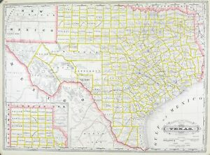 1887 Railroad and County Map of Texas Antique