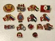 Flag Pins Canada Kuwait Israel Korea Lot of 15 #1793