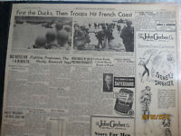WWII History Newspaper 1944 D-DAY +3 DUCKS BOATS THEN TROOPS HIT FRNCH COAST