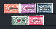 """FRENCH ANDORRA YVERT 19 / 23 """" LIBERTY AND PEACE 5 VALUES 1931 """" MNH VF R655"""