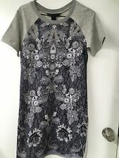 Marc By Marc Jacobs Cotton Tee Dress,Grey  lace print,szS,NWT,Orig $258