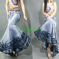 Women's Europe Fishtail Gown Jeans Denim Ultra Maxi Long Skirts Retro Dress Slim