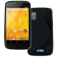 for Google Nexus 4 E960 Flexible Black S-Shape Soft Gel TPU Skin Case Cover