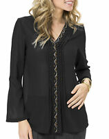 Size 12 - 18 Plus Black Beaded Blouse Shirt  Embellished top for Evening Party