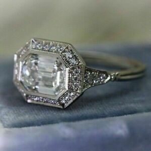 Art Deco 1.67 Ct Bezel Set Emerald Cut Moissanite Engagement Ring in 925 Silver