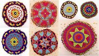 "16"" SUZANI EMBROIDERED THROW ROUND PILLOW CUSHION COVER Decorative Indian Decor"