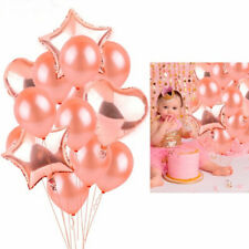 14Pcs Rose Gold Heart Balloon Foil Balloon Latex Ballon for Birthday Party Decor