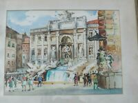 ARTIST SIGNED ORIGINAL WATERCOLOR PAINTING OF TREVI FOUNTAIN, ROME