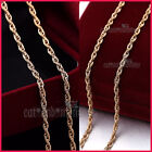 18K PLAIN ROSE GOLD GF SOLID LADIES GIRLS 2MM ROPE CHAIN LONG NECKLACE 60cm GIFT