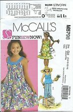 M 5798 sewing pattern DRESS tiered ruffles DRESSES TOP PANTS sew CUTE sizes 7-14