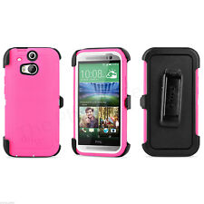 New OEM Otterbox Defender Series Neon Rose Pink Shell Case for HTC One M8