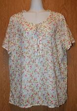 Womens Pretty Floral Blair Short Sleeve Semi Sheer Shirt Size Large excellent