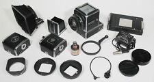 Hasselblad 500EL Camera, Zeiss 80mm f2.8*, 2 film backs, Hood,Close-Up rings etc