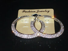 NEW (6140-6) Womens Occasion Wide Hoops Diamante Earrings Silver