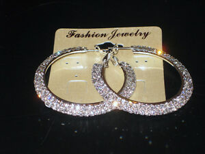 Womens Occasion 2 Row Wide Hoops Diamante Earrings Silver Girls NEW