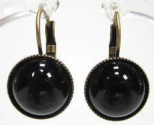 SoHo® Ohrhänger 13mm rund cabochon onyx schwarz black bronze handmade
