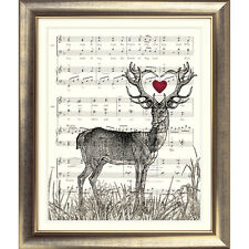 ART PRINT ORIGINAL VINTAGE MUSIC SHEET Page STAG DEER HEART BOOK ART Shabby Chic