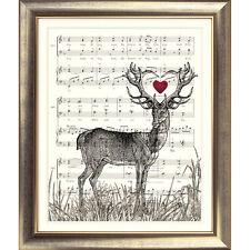 ART PRINT ORIGINAL VINTAGE MUSIC SHEET Page STAG DEER HEART BOOK ART Shabby Chic