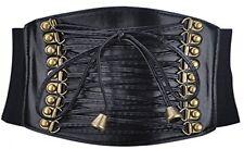Retro Estilo Corsé De Cintura Cinturón Elástico Ancho 4-Negro