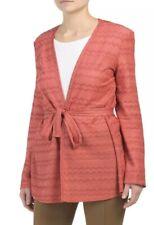 M Missoni Women's Sweater Large Coral Metallic Lurex Wave Knit Belted Cardigan
