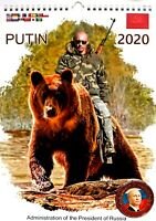 2020 Wall Calendar Vladimir Putin Rides On A Bear. OFFICIAL CALENDAR + MAGNET