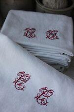 Damask linen napkin SET 12 CC   monogrammed linen  29X23 c1920 white old