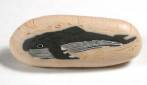 """Vintage Fimo Button with Wonderful Whale Image design - 1 & 5/16"""""""