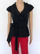 DIANE VON FURSTENBERG Size S XS Black Blouse Dress Shirt Tunic Wrap Top Women's