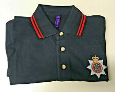 Cotton Polo Shirt, Navy/Red, Medium, Royal Devonshire regt logo, slight econd