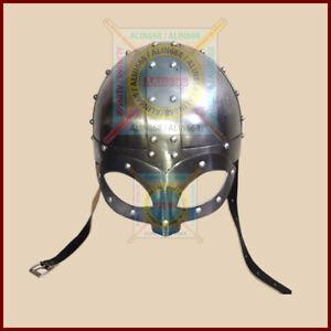 Viking Mask Helmet , re-enactment larp role-play fancy-dress w/ Inner Liner