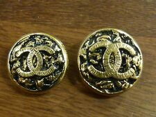 2 Authentic Chanel replacement buttons Gold/Black with Chanel CC logo  18mm 20mm
